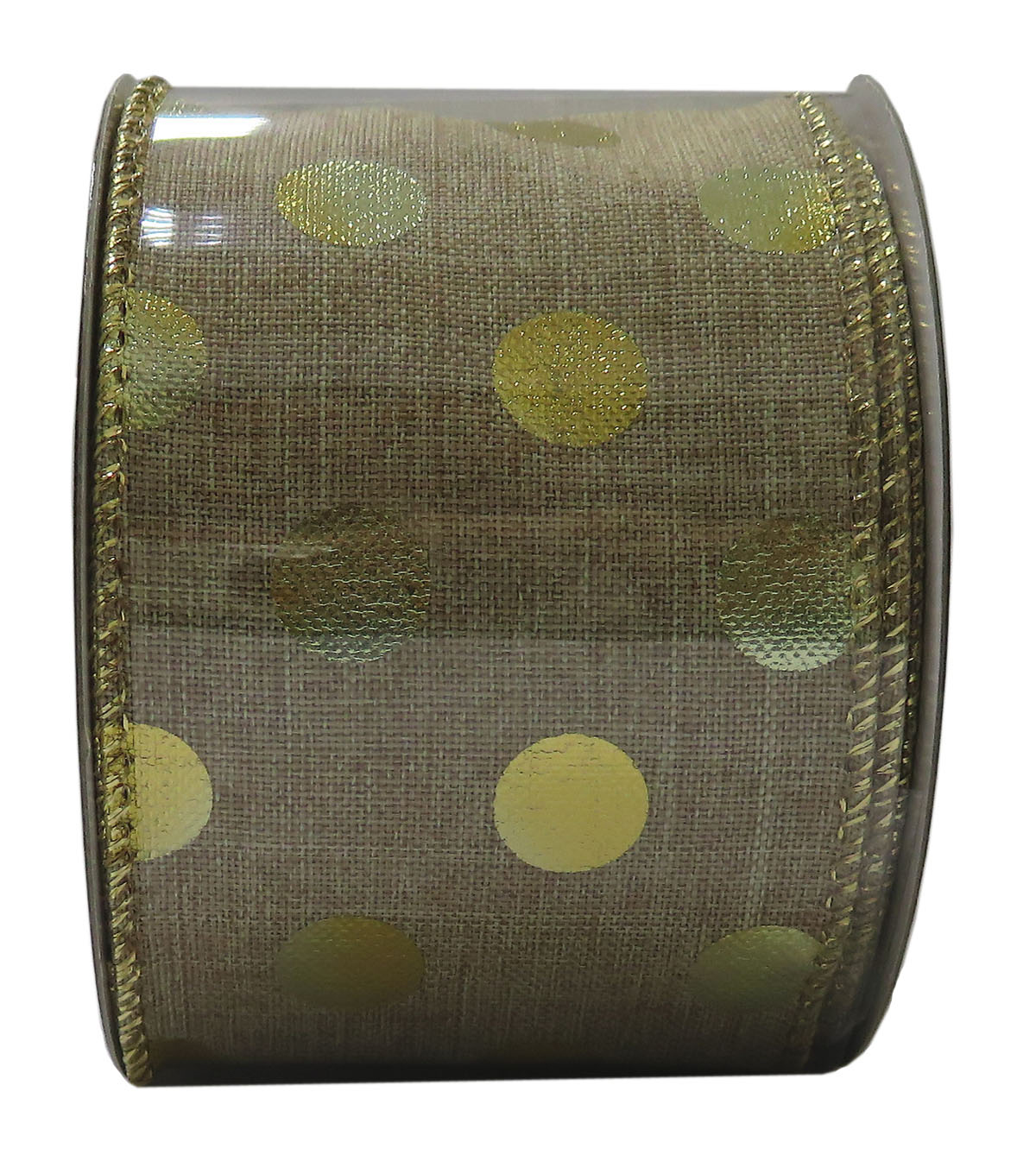 Decorative Ribbon 2.5\u0027\u0027 X 15\u0027-Gold Metallic Dot
