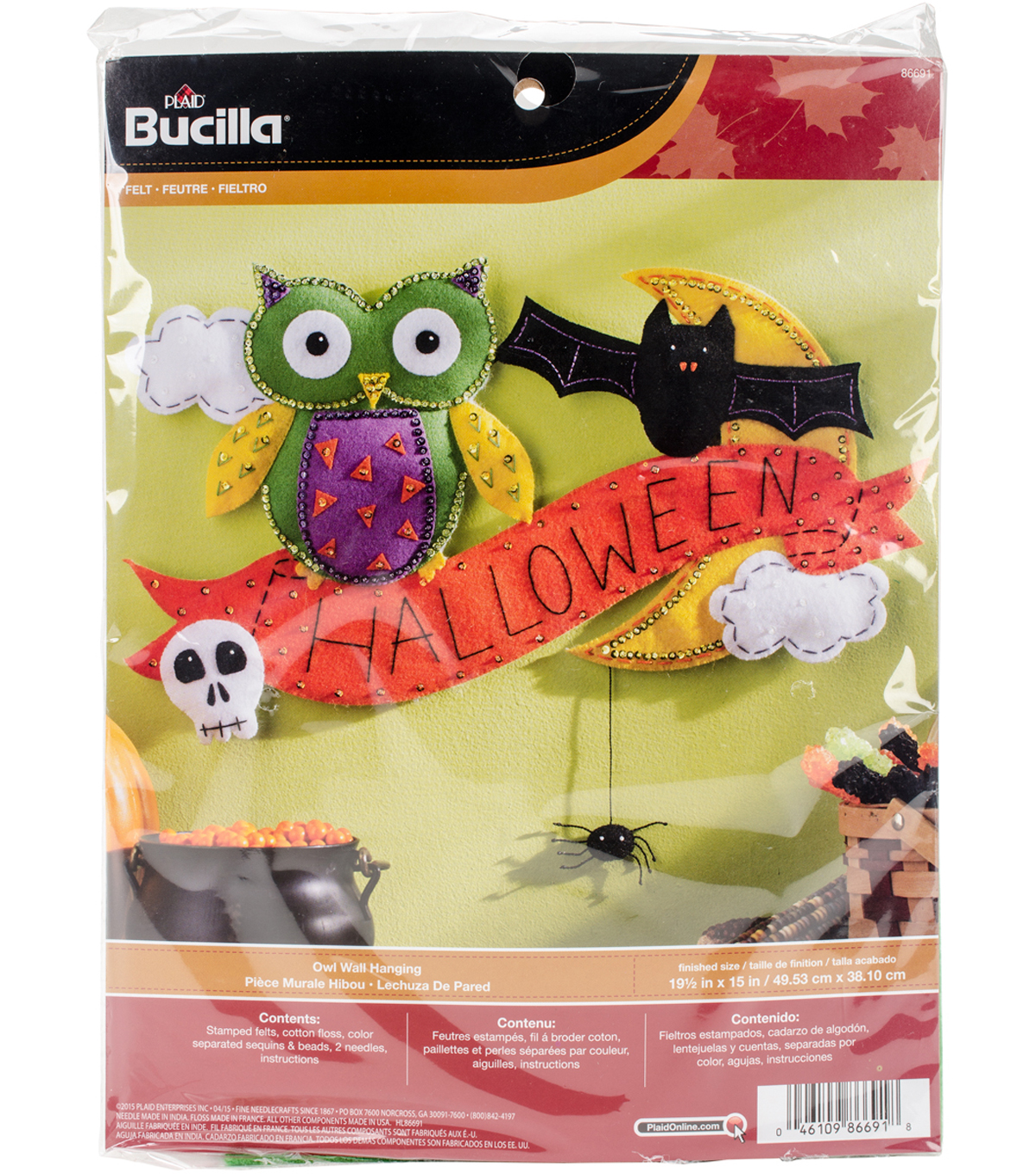 Halloween Wall Hanging Felt Applique Kit 19.5\u0022X15\u0022