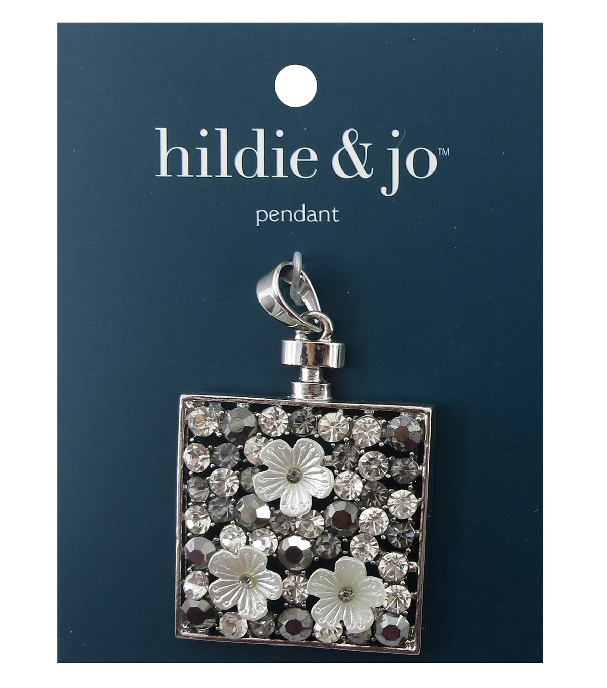 hildie & jo Square Silver Pendant with Flowers-Clear/Gray Crystal