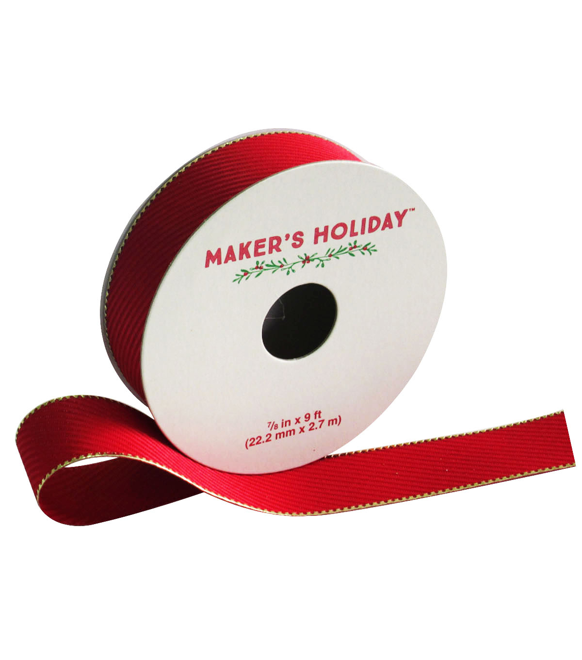 Maker\u0027s Holiday Twill With Edge Ribbon 7/8\u0027\u0027x9\u0027-Red & Gold