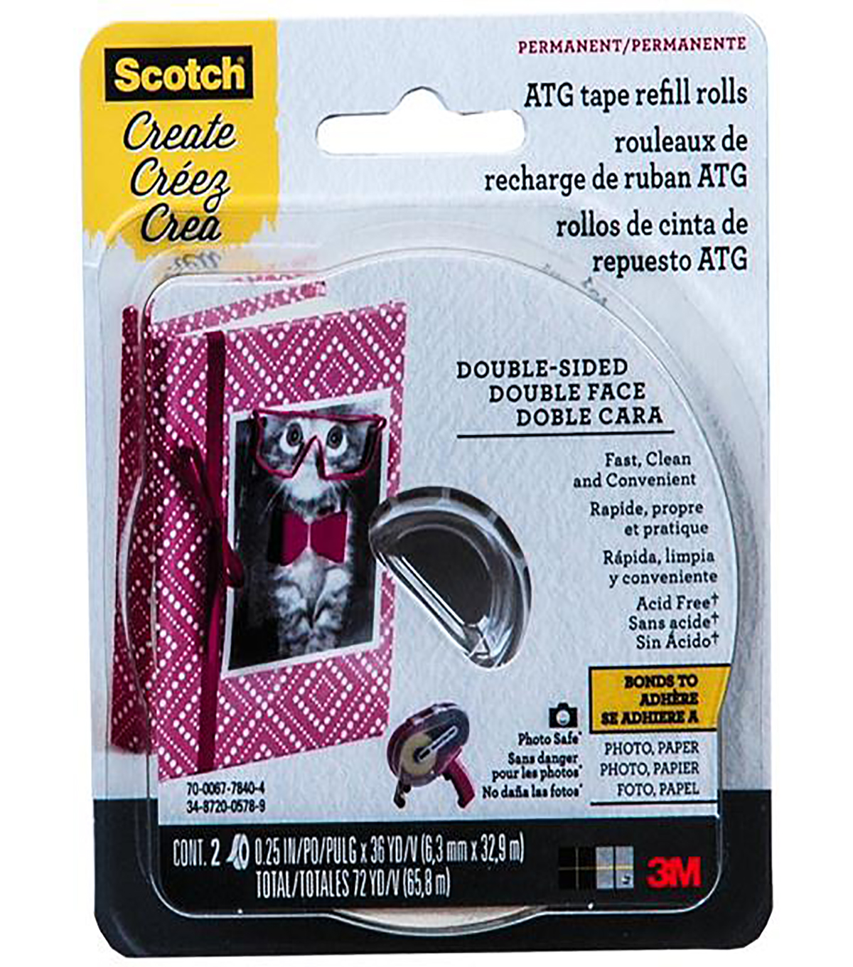Scotch Advanced Tape Glider Acid-Free Refills 2/Pkg-.25\u0022X36yd Each, For Use In 085