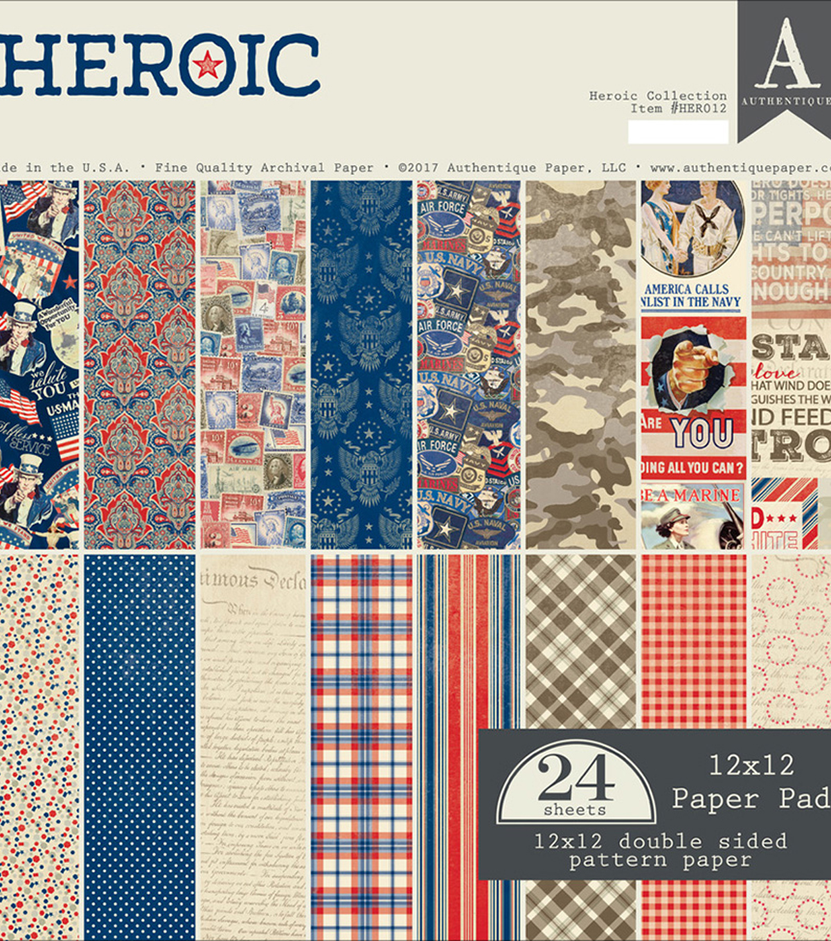 Authentique Double-Sided Cardstock Pad 12\u0022X12\u0022-Heroic