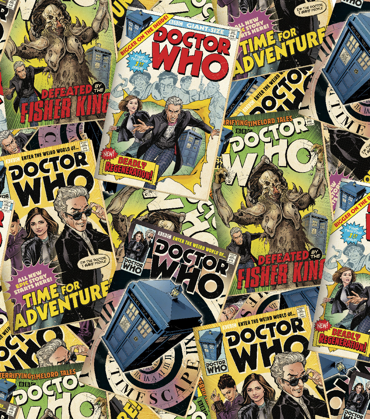 "Doctor Who Comic Book Cotton Fabric 43""-Tossed Comics"