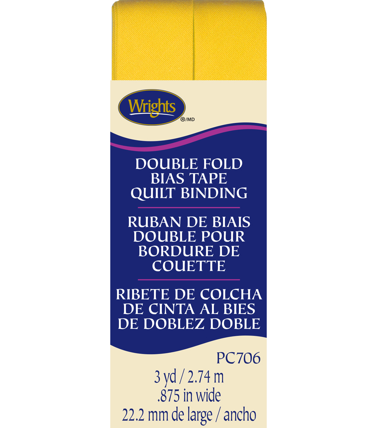 Double Fold Quilt Binding 3 Yd Yellow