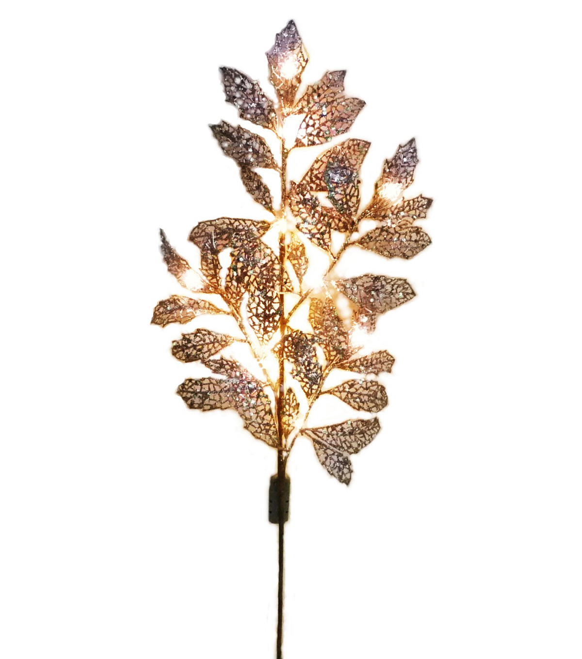 Blooming Holiday 27'' Gold Leaf Spray With LED