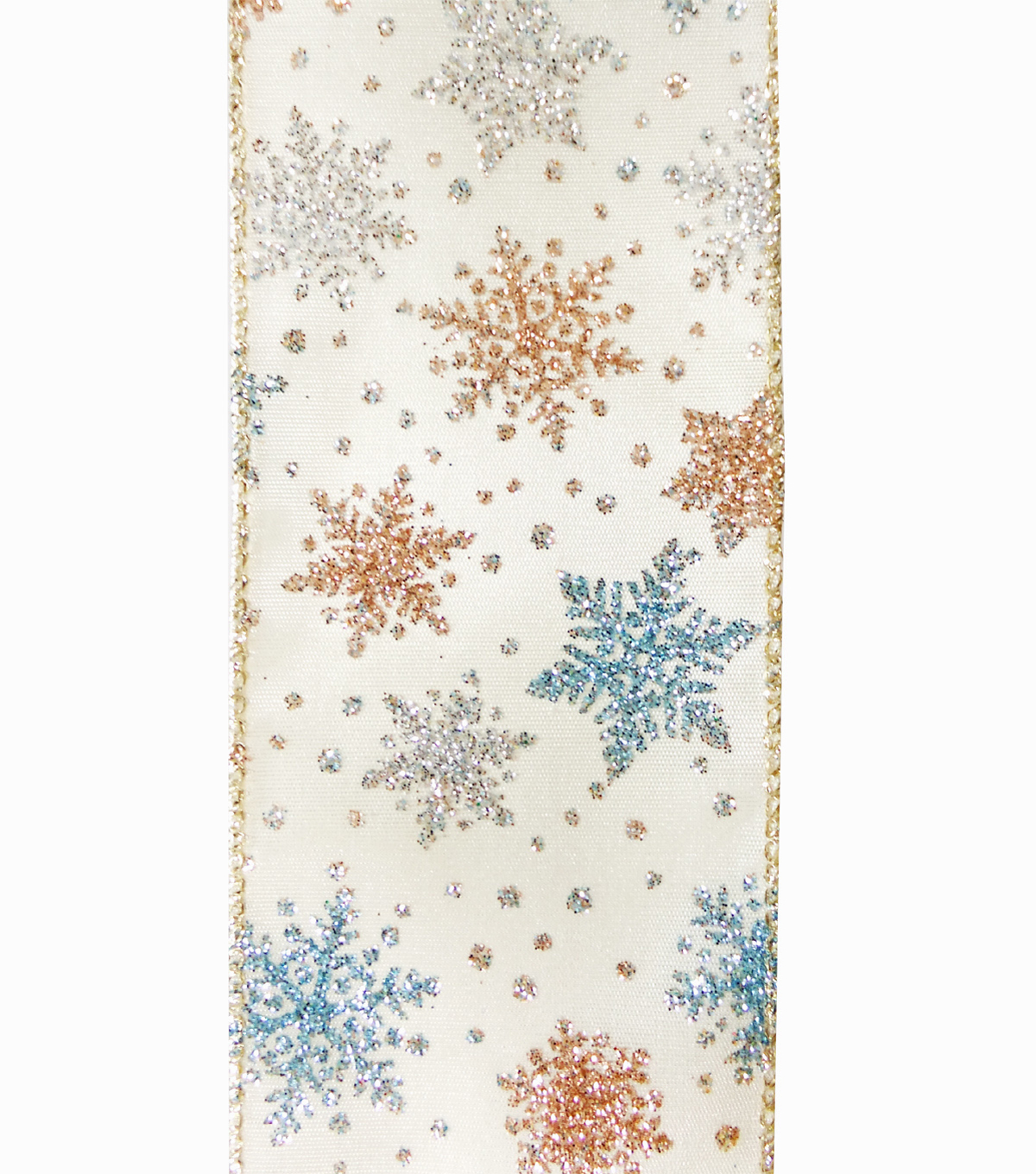 Maker\u0027s Holiday Christmas Ribbon 2.5\u0027\u0027x25\u0027-Snowflakes on Ivory