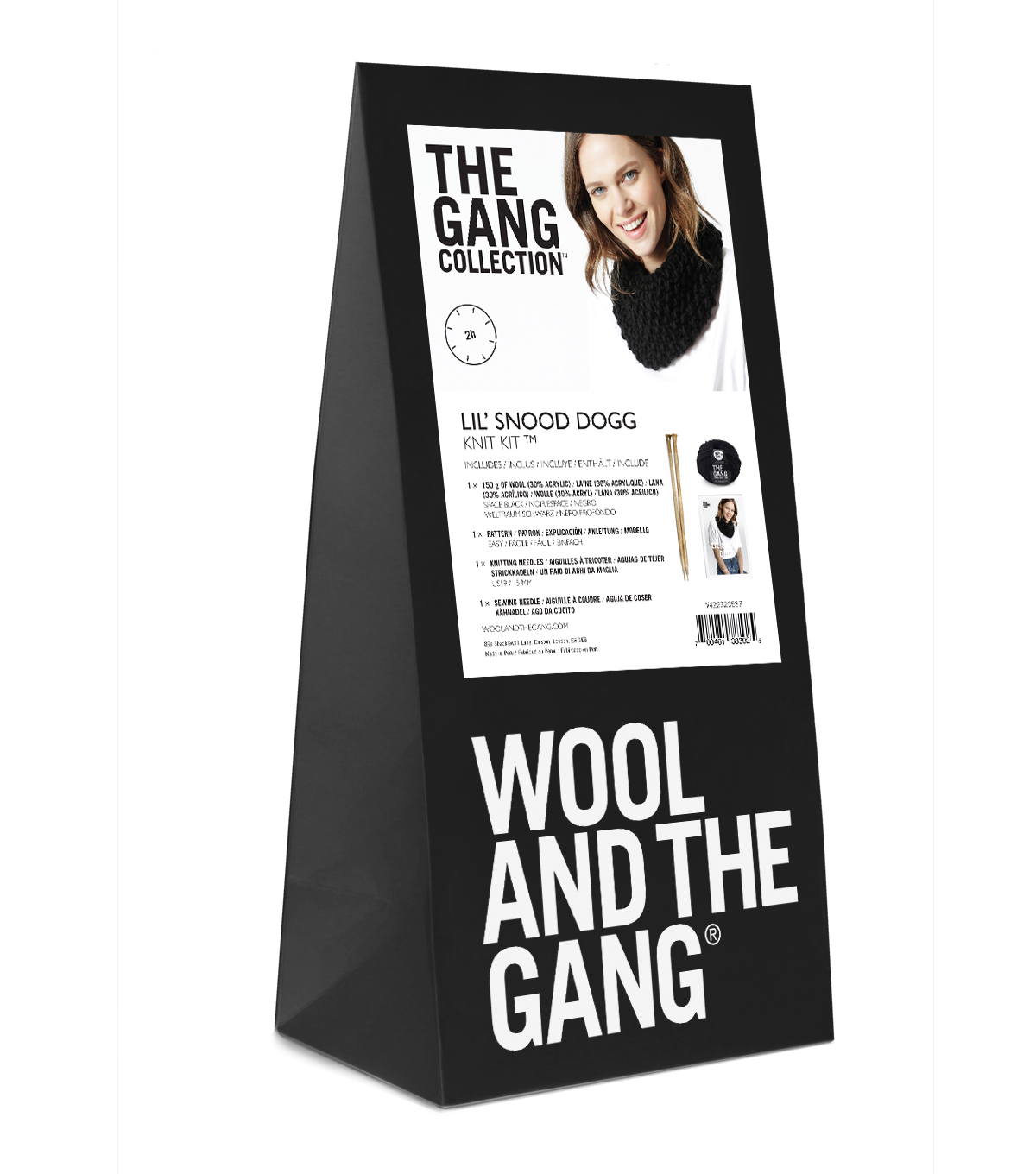 Wool And The Gang \u0027Lil Snood Dogg Knit Kit-Space Black