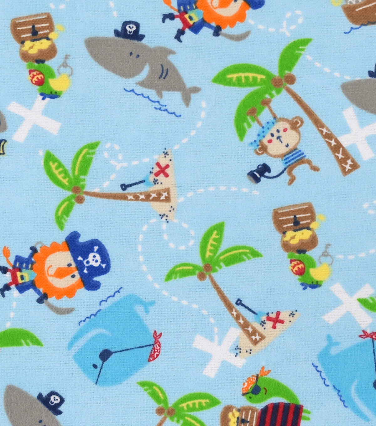 Snuggle Flannel Fabric 42\u0027\u0027-Captain Monkey & Friends