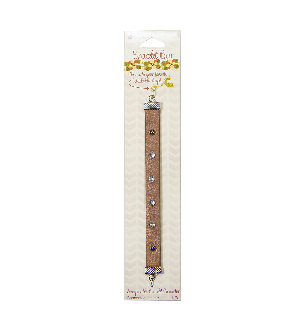 Bracelet Bar Connector Faux Leather with Studs/Rhinestones, Tan