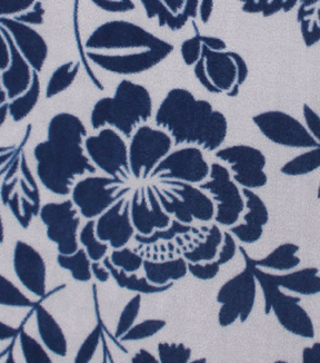 No-Sew Throw Fleece Fabric 72\u0022-Gray Navy Federal Floral
