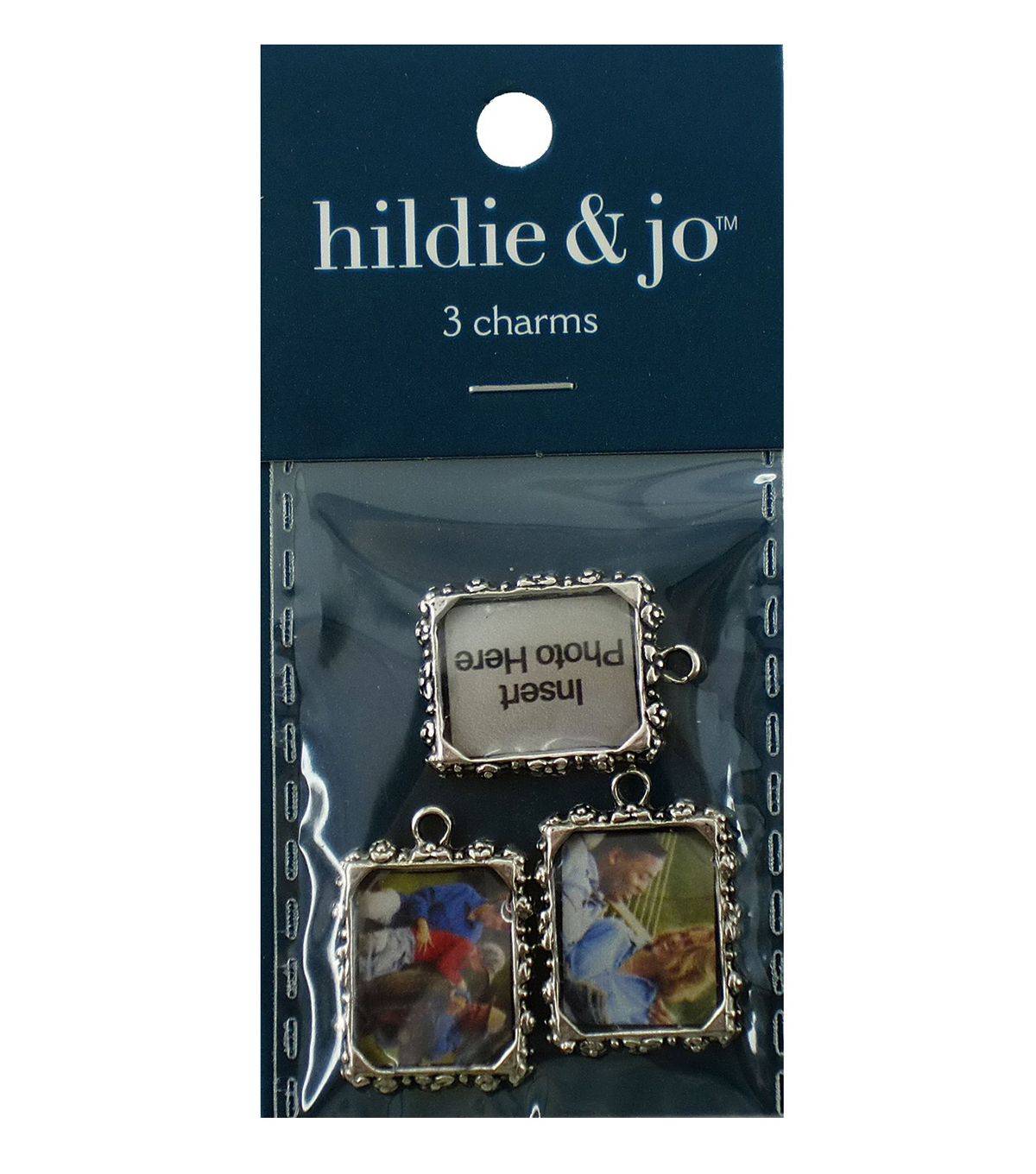 Blue Moon Metal Photo Frame Charm-3PK/Silver