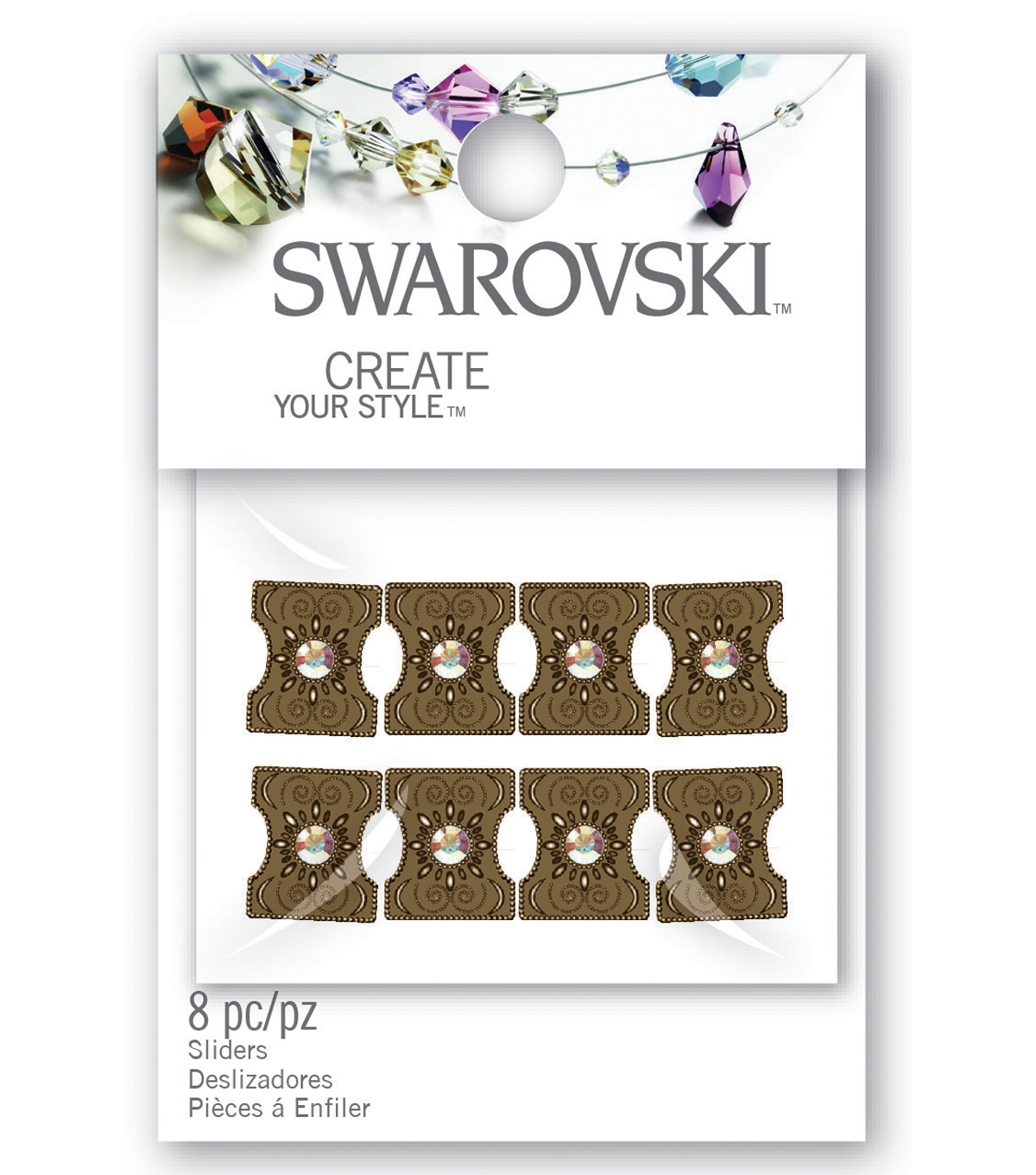 Create Your Style Swarovski Sliders-Aurora Borealis Crystal Portrait 8/pk