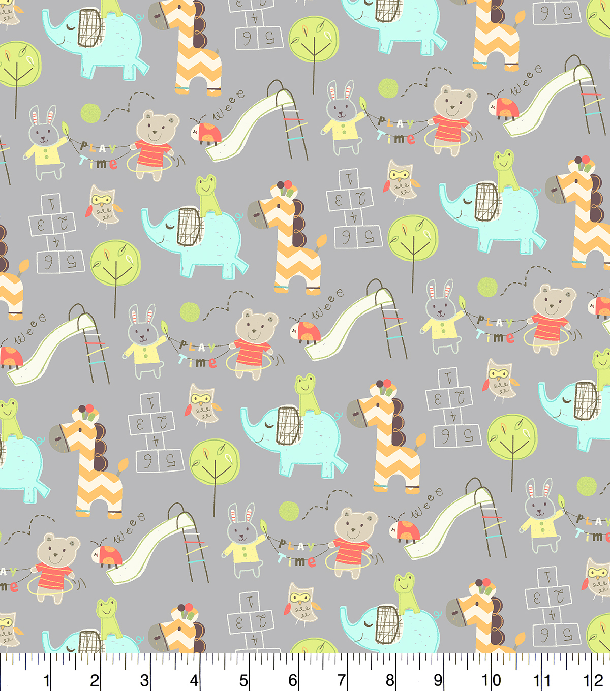 Snuggle Flannel Fabric 42''-Play Time Friends