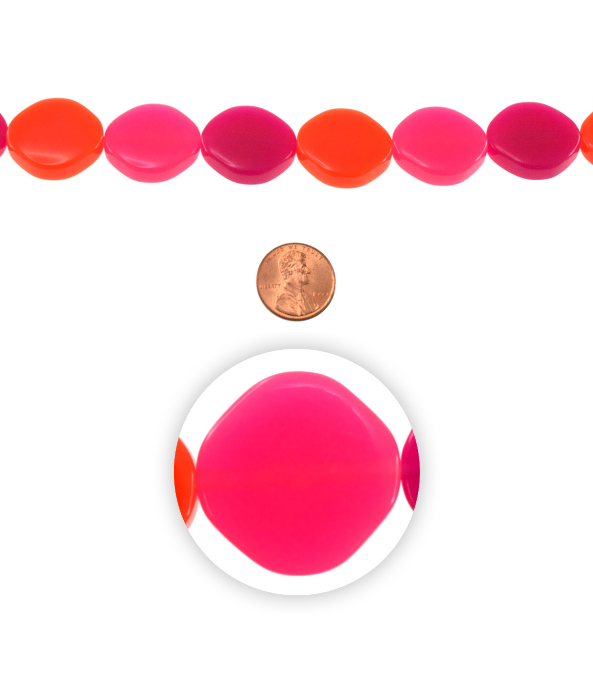 7 inch Bead Strand-Resin, Bright Discs, Pop Pinks