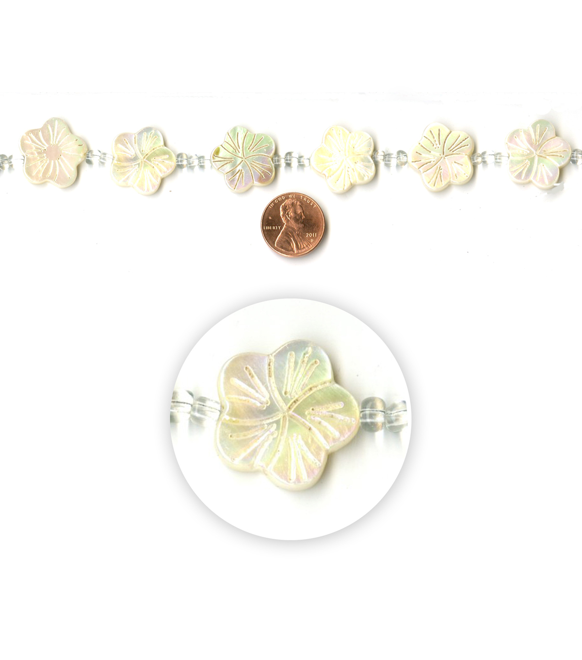 Blue Moon Strung Mother of Pearl Shell Beads,Flower,Ivory AB,Carved
