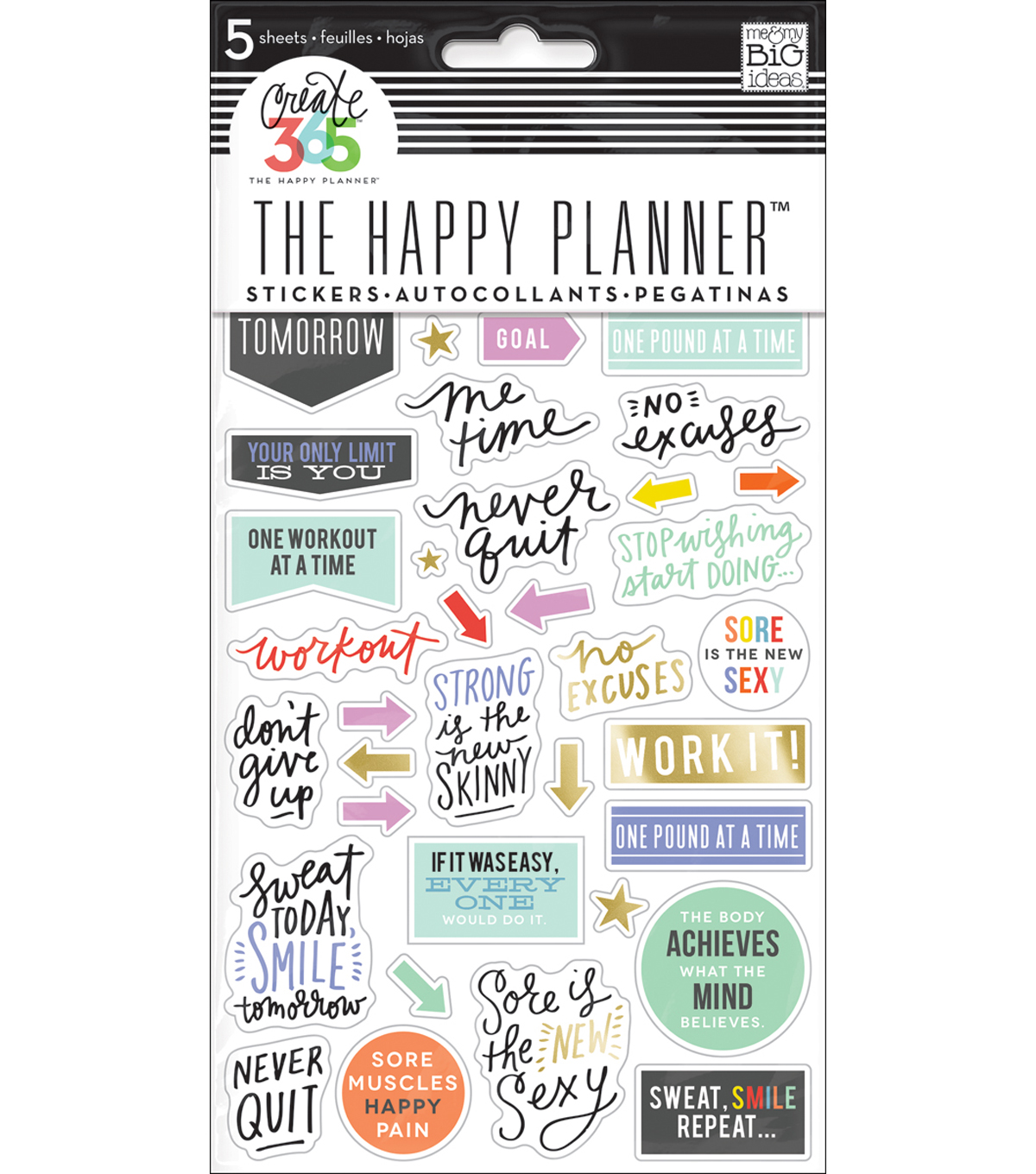 Create 365 Planner Stickers 5 Sheets/Pkg-Fitness