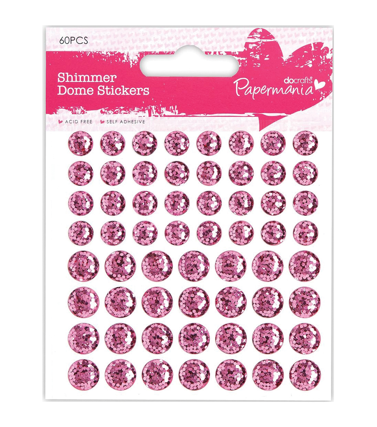 Papermania Shimmer Dome Bling Stickers 60/Pkg-Pink