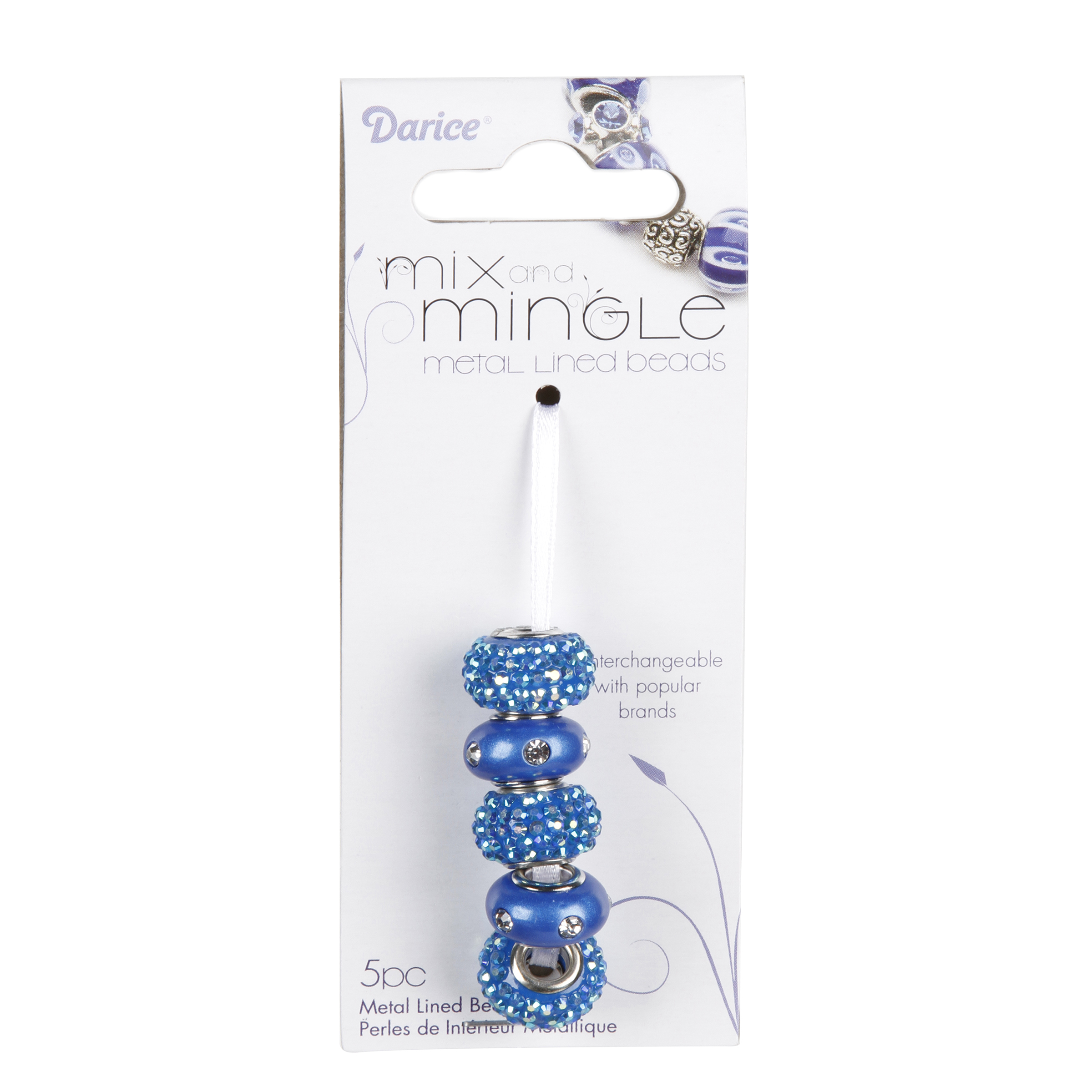 Mix and Mingle Blue Glitter & Pearlescent Beads, 5pc