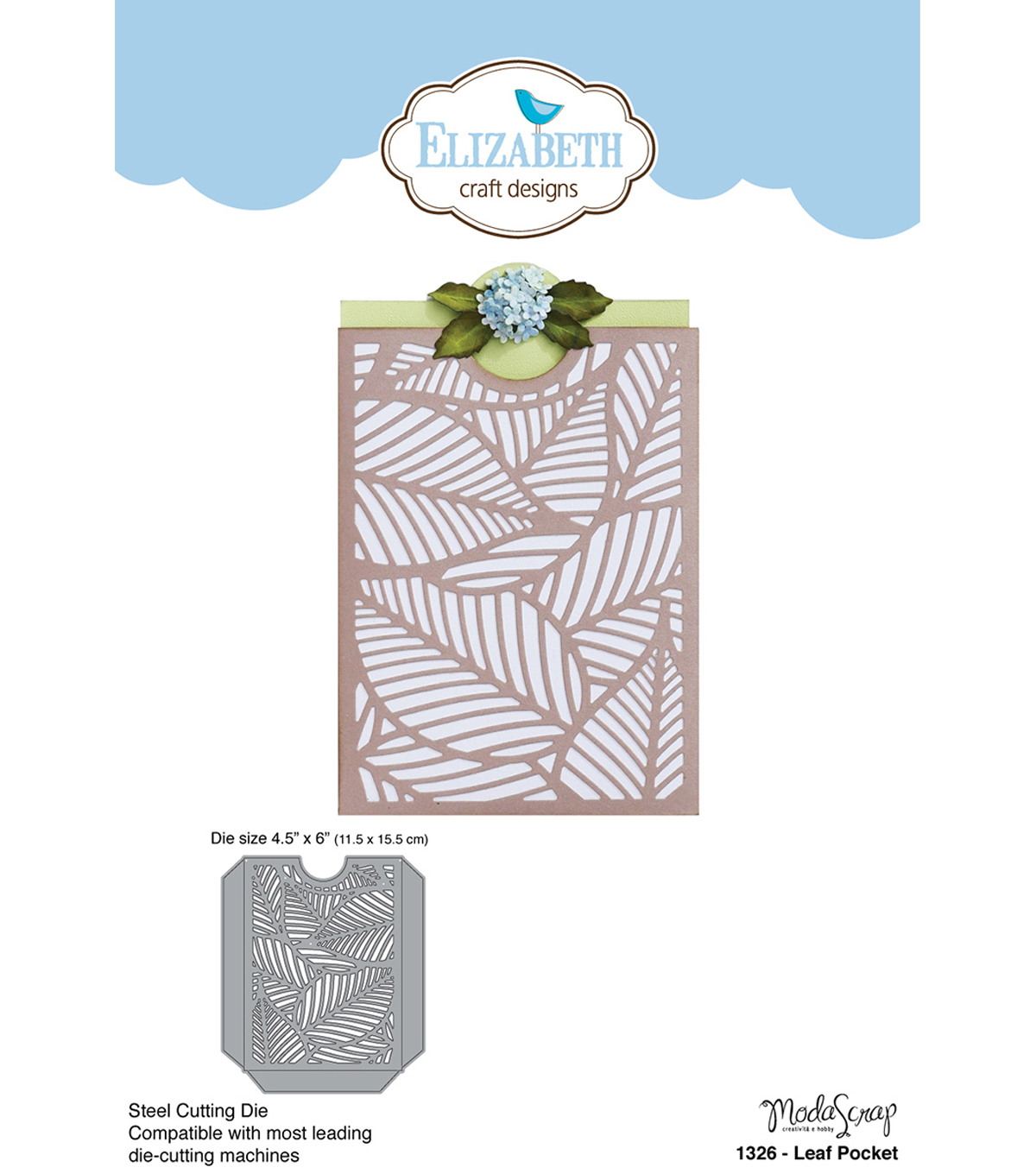 Elizabeth Craft Metal Die By Modascrap Designs-Leaf Pocket 4.5\u0022X6\u0022