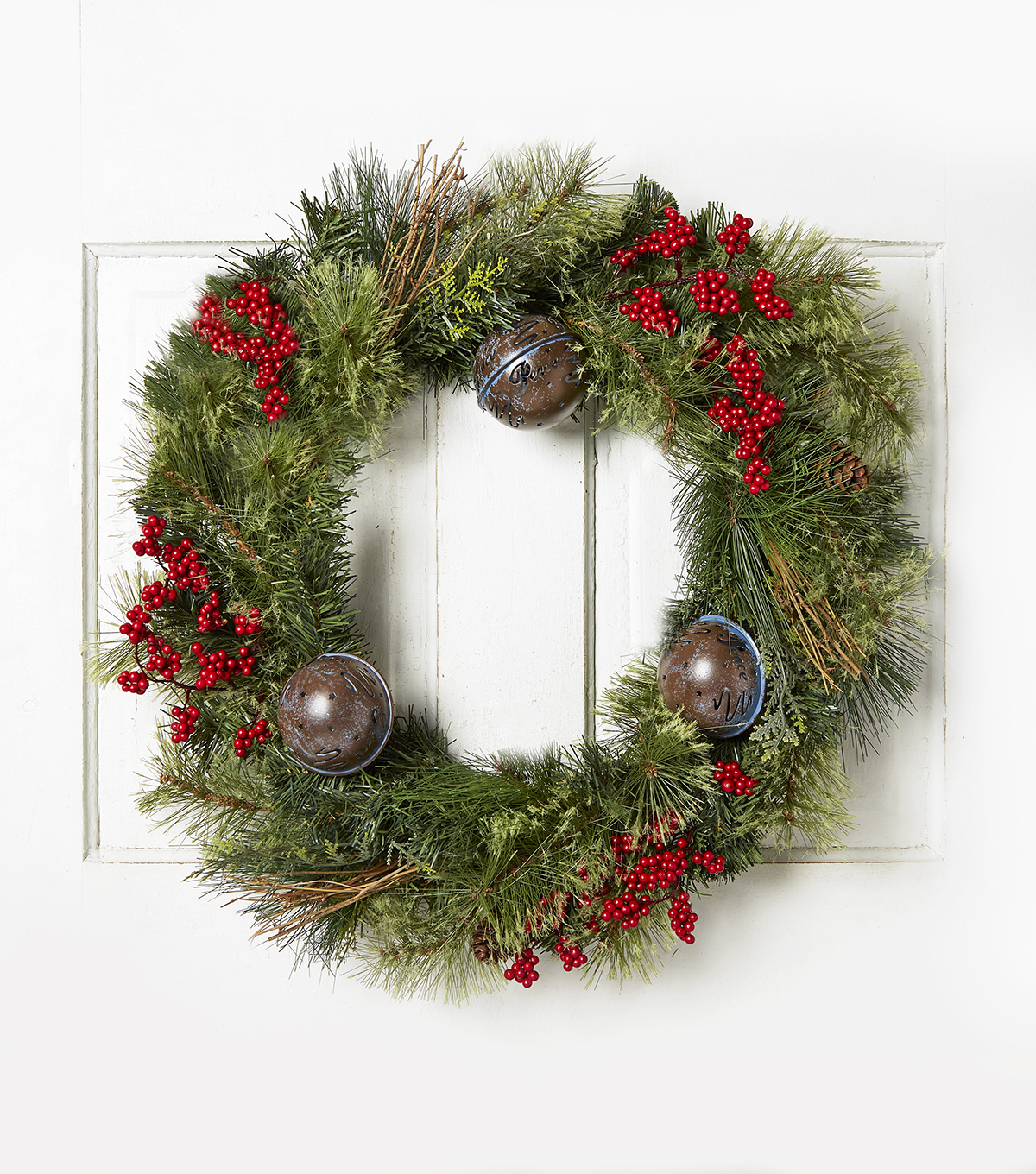 Blooming Holiday 22\u0027\u0027 Bell, Berry, Grapevine & Pinecone Wreath