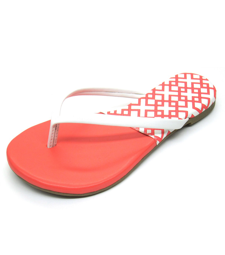 Escape to Paradise Women\u0027s Flip Flops-Coral