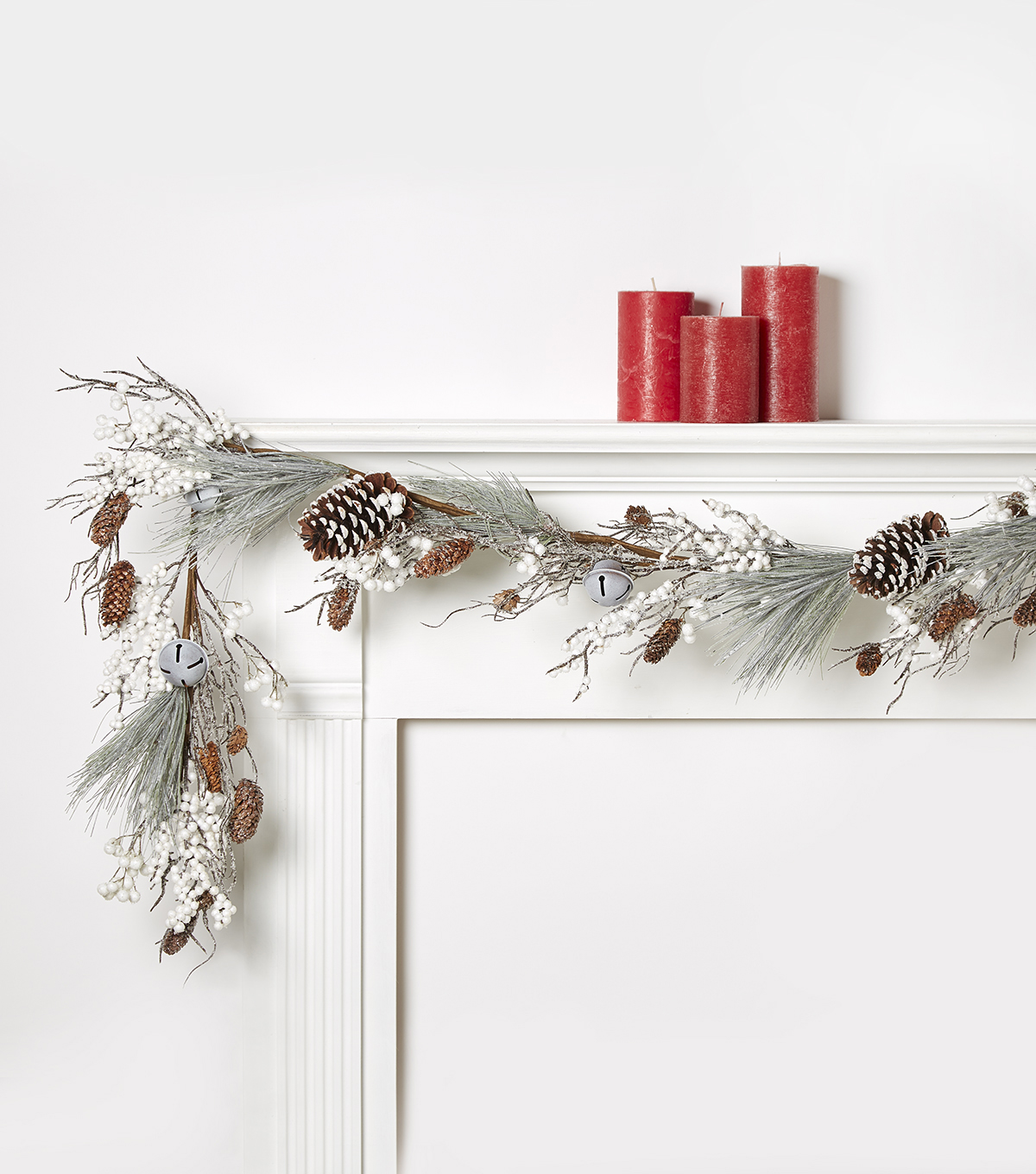 Blooming Holiday 66\u0027\u0027 Pinecone, Bells & Berry Frosted Garland-White