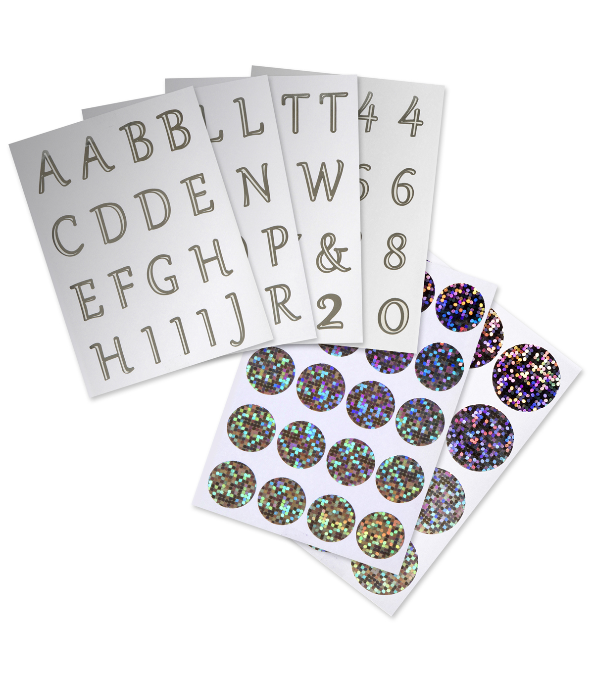David Tutera Letter, Number&Round Embellishment Stickers