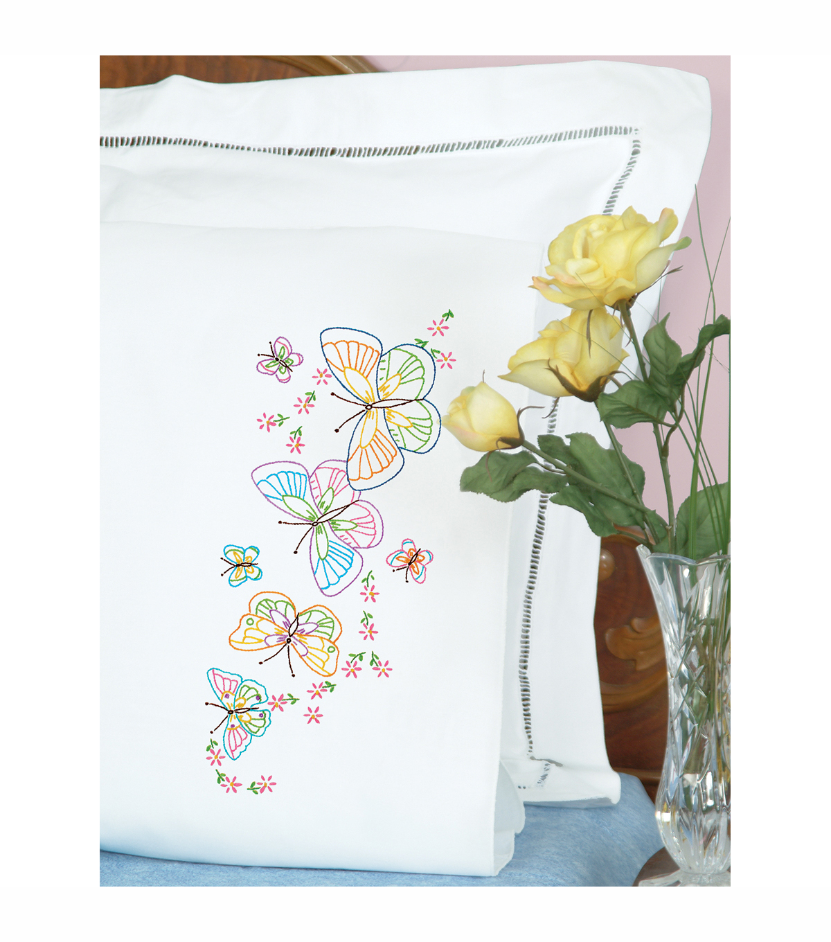 Stamped Pillowcases With White Perle Edge 2/Pkg-Fluttering Butterflies