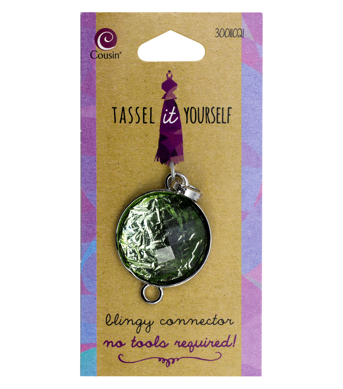 Cousin Tassel It Yourself Round Silver Connector-Green Accent