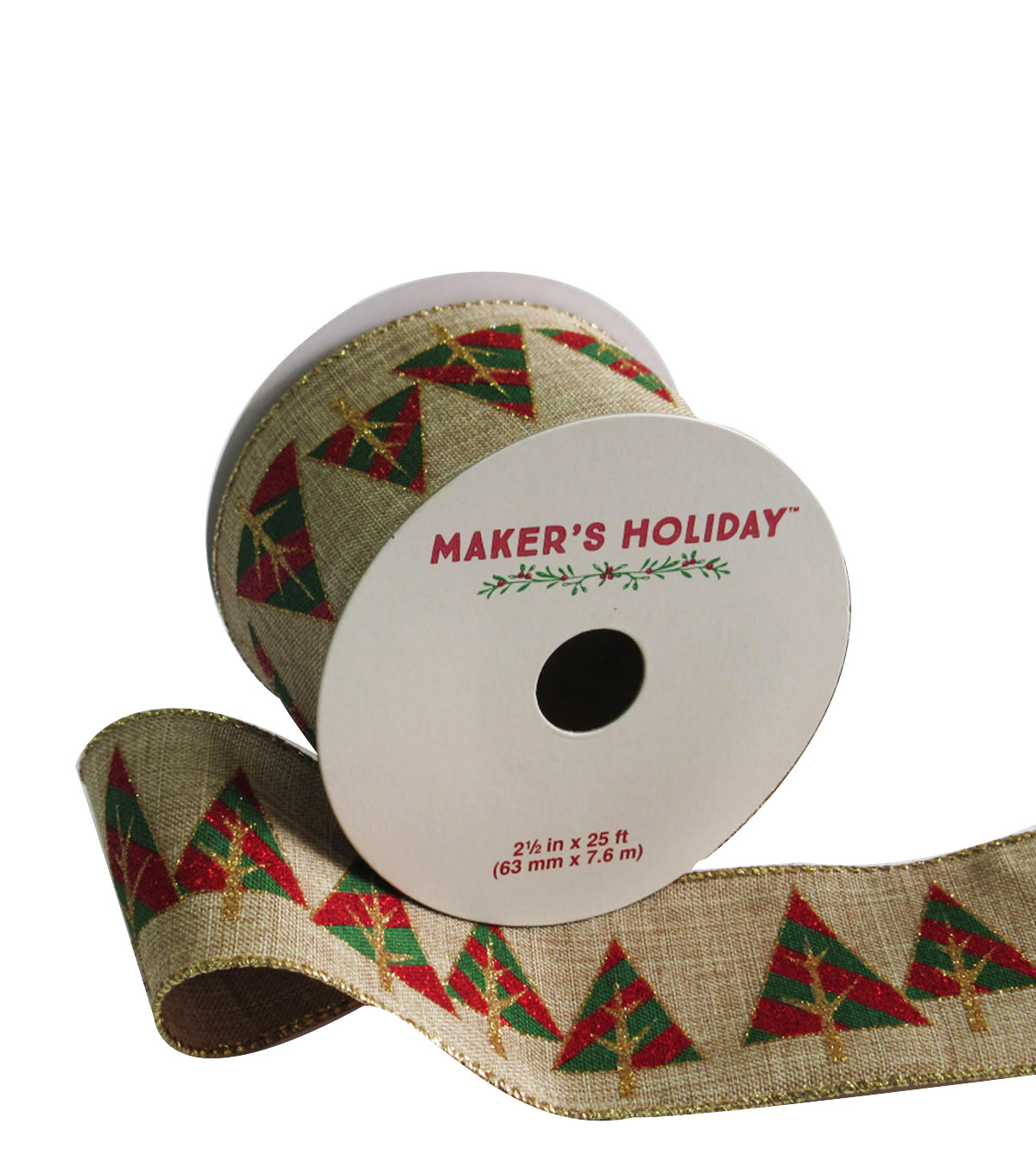 Maker's Holiday Ribbon 2.5''x25'-Red Green & Gold Christmas Tree