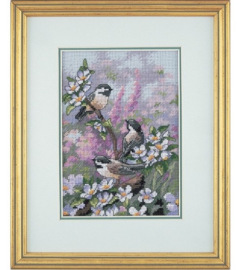 Dimensions Gold Counted Cross Stitch Kit Petite Chickadees in Spring