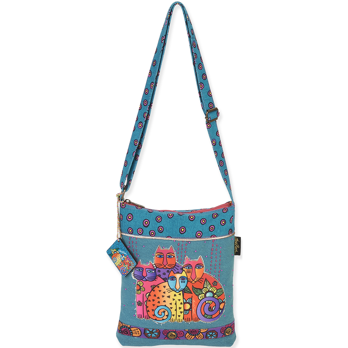 Laurel Burch Tote- Long Satchel 10.5\u0022X12.5\u0022 Feline Clan