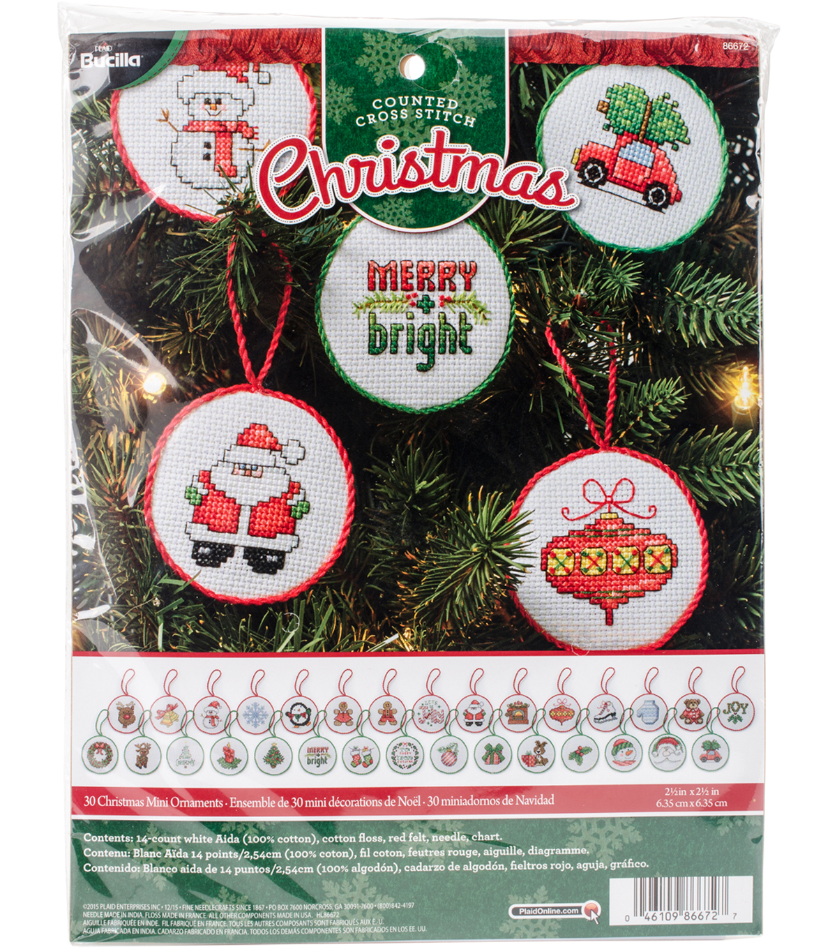 Christmas Minis Ornaments Counted Cross Stitch Kit