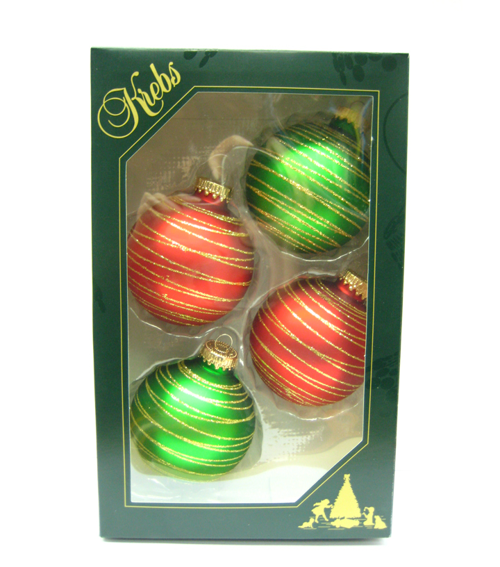 Maker\u0027s Holiday 4ct Glass Red & Green Striped Ornaments