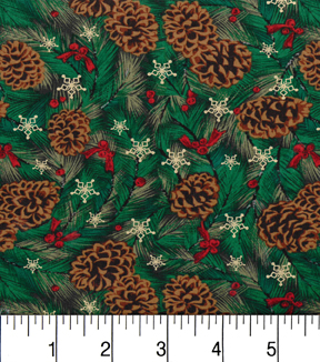 "Maker's Holiday Cotton Fabric 43""-Pincones and Bows"
