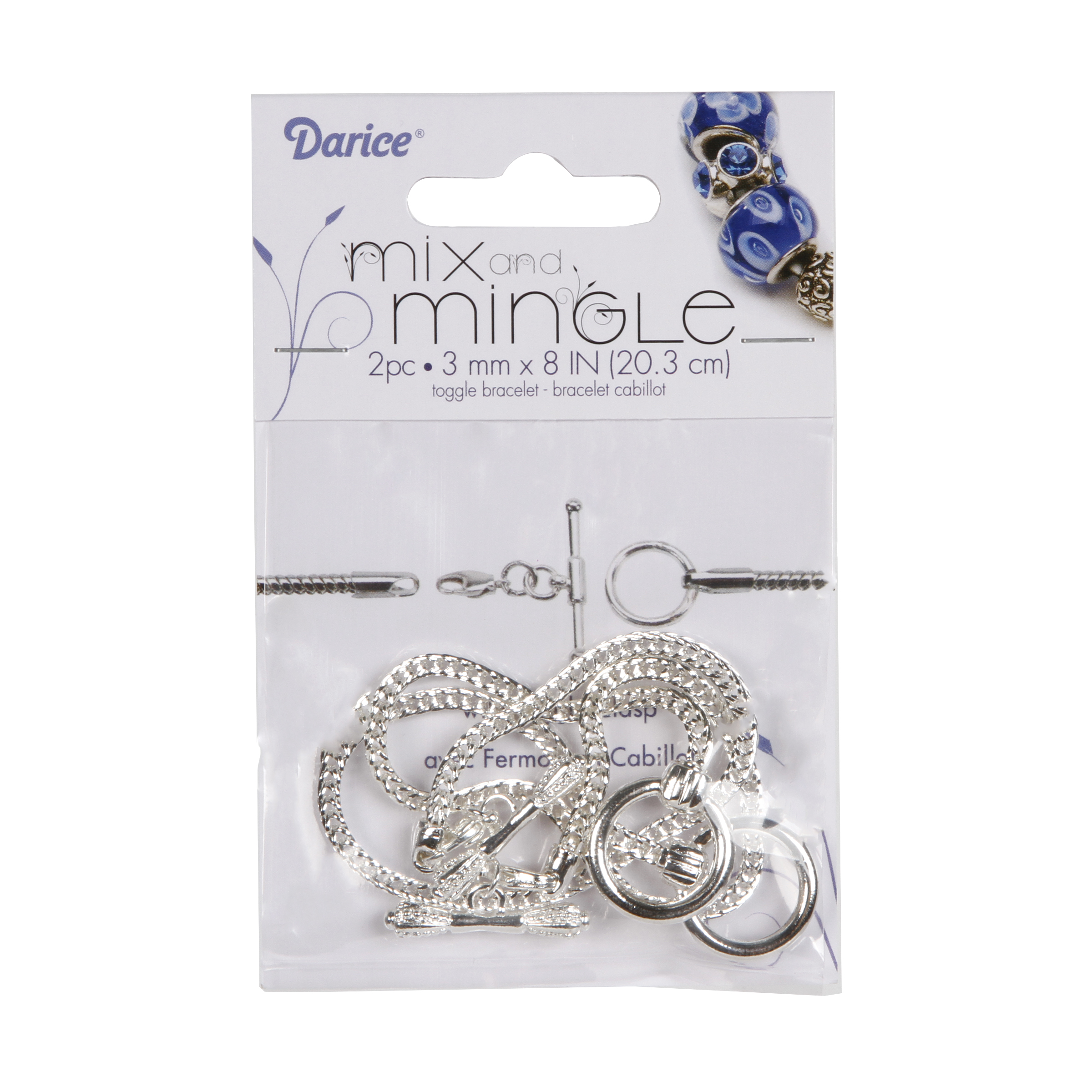 Mix and Mingle Silver Toggle Bracelets, 8 inches long, 2pc/pkg