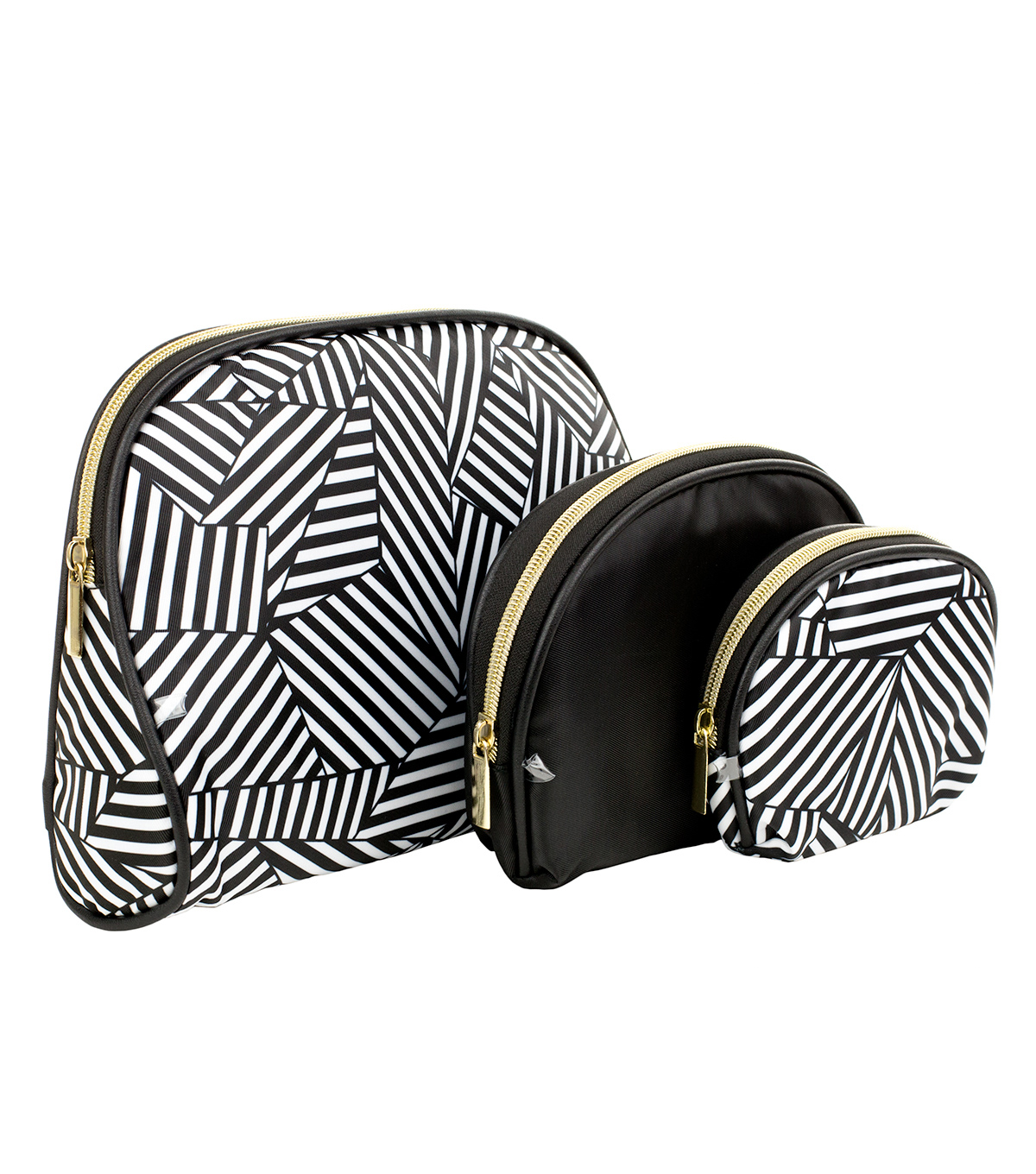 Black Stripes Cosmetic Bags Set of 3
