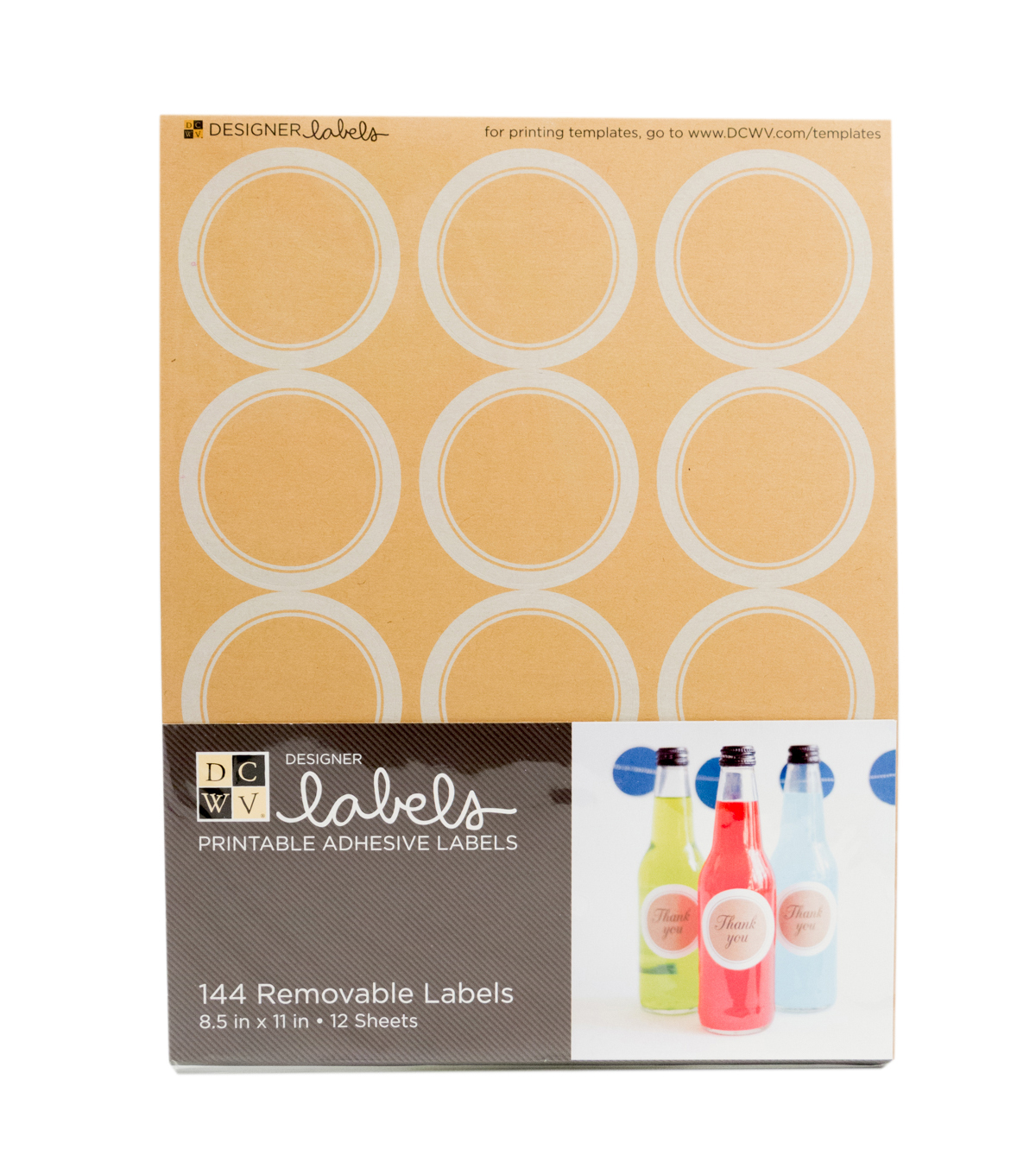 DCWV Kraft Circle Labels with a White Border