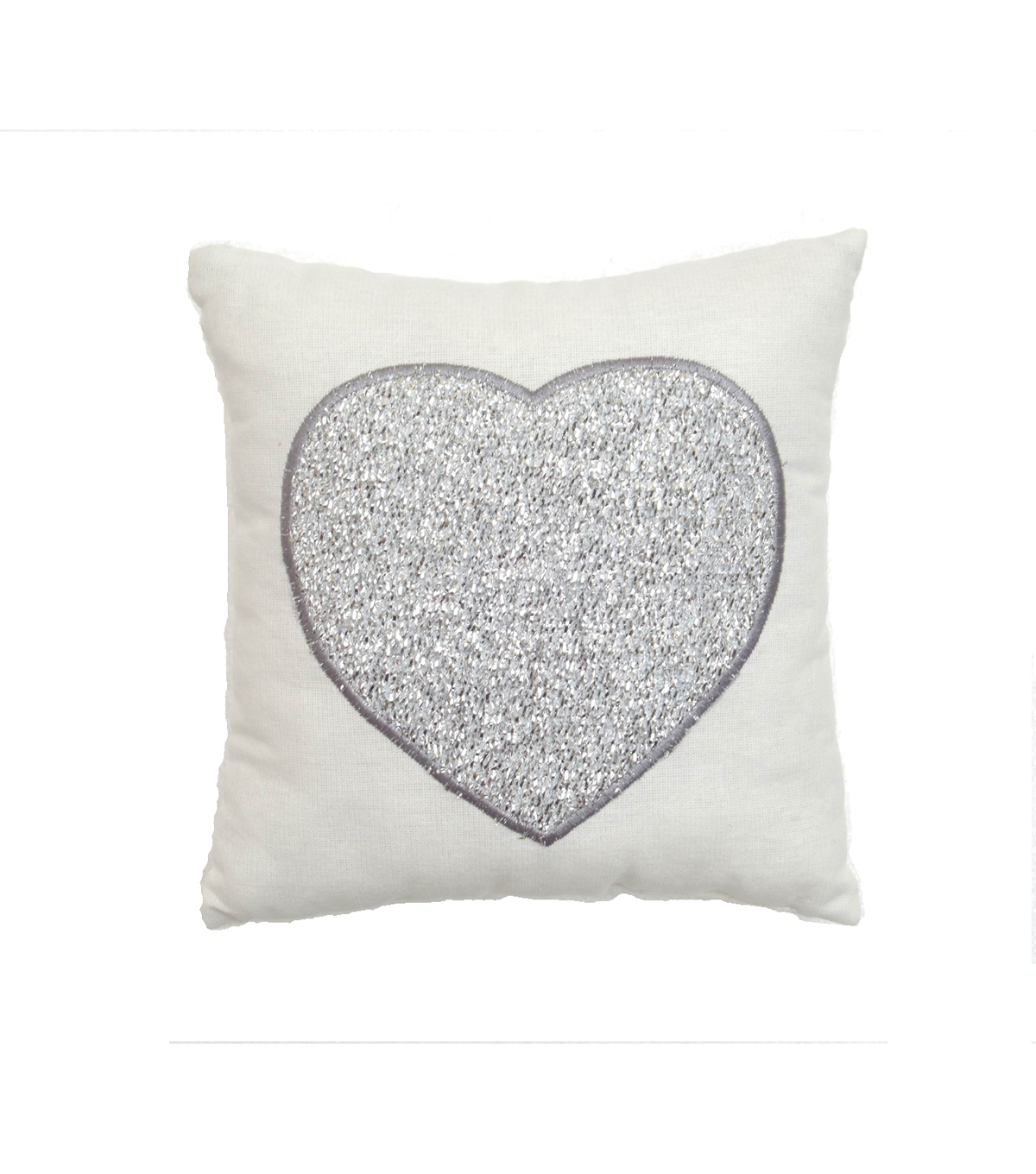 Valentines Day Tinsel Heart Pillow-Ivory/Silver