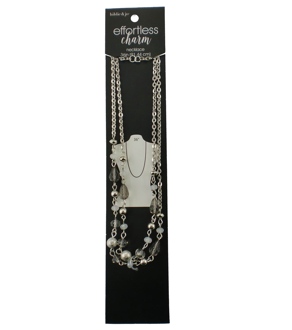 hildie & jo™ Effortless Charm Silver Necklace-Gray & Silver Beads