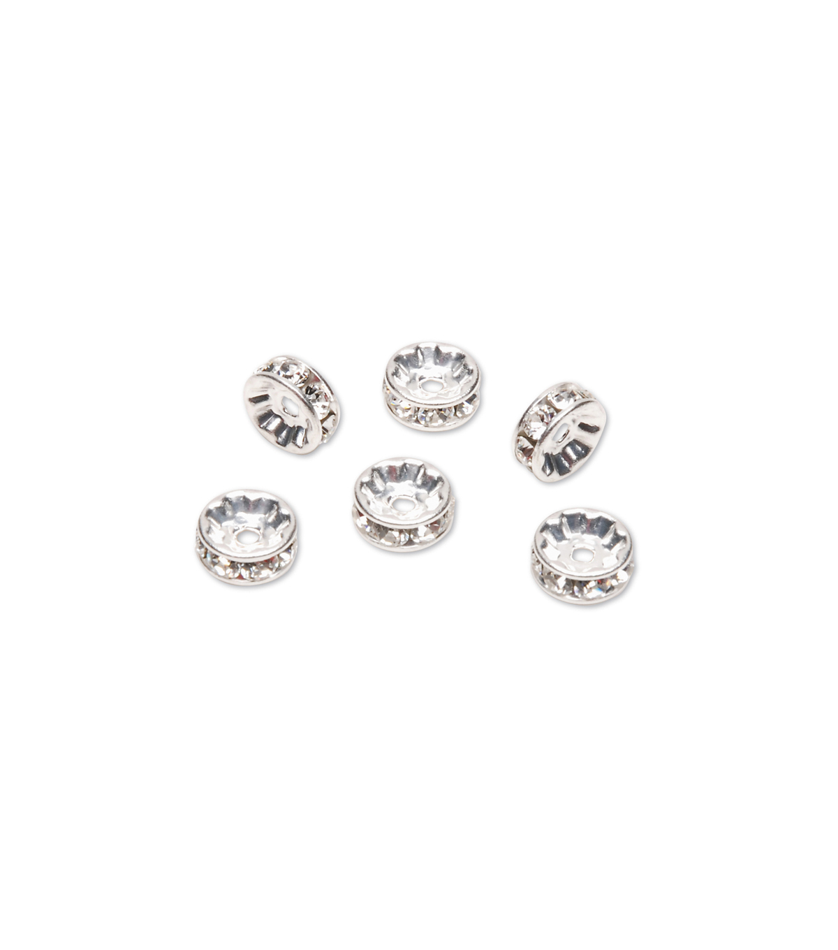 Swarovski™ Rondelle Spacers w/Crystal, Sterling Silver Plated, 8mm, 6pc/pkg