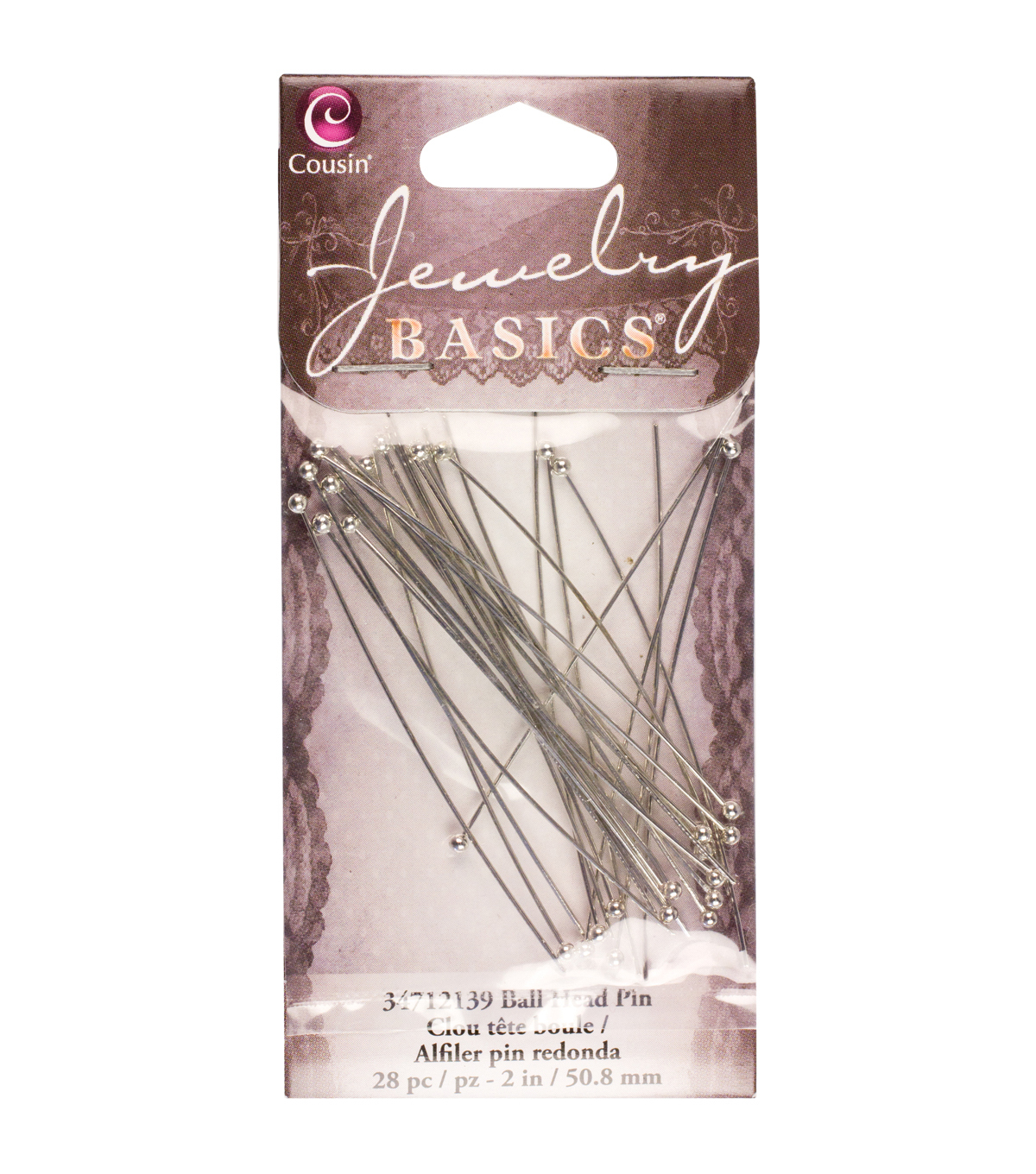 Jewelry Basics Metal Findings-Silver Ball Head Pin 28/Pkg