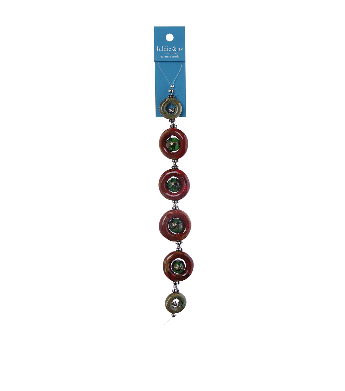 hildie & jo™ 7\u0027\u0027 Button Strung Beads-Dark Red & Green
