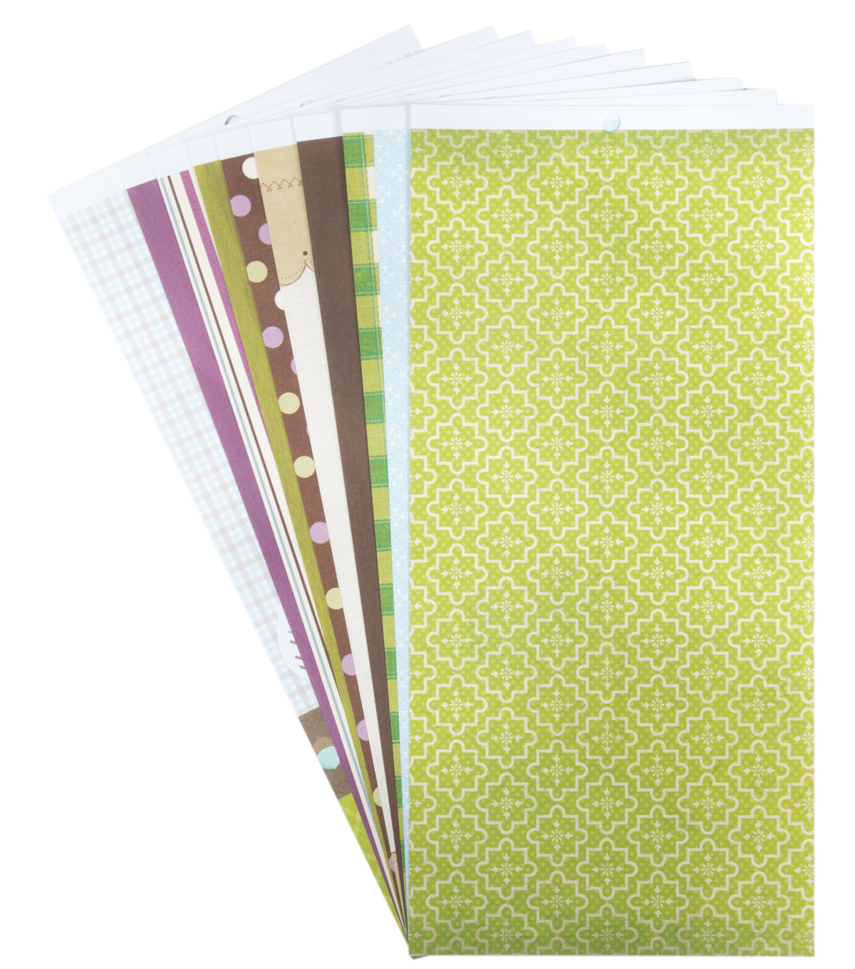 DCWV 6\u0022x12\u0022 Printed Paper Stack Purples Browns and Greens