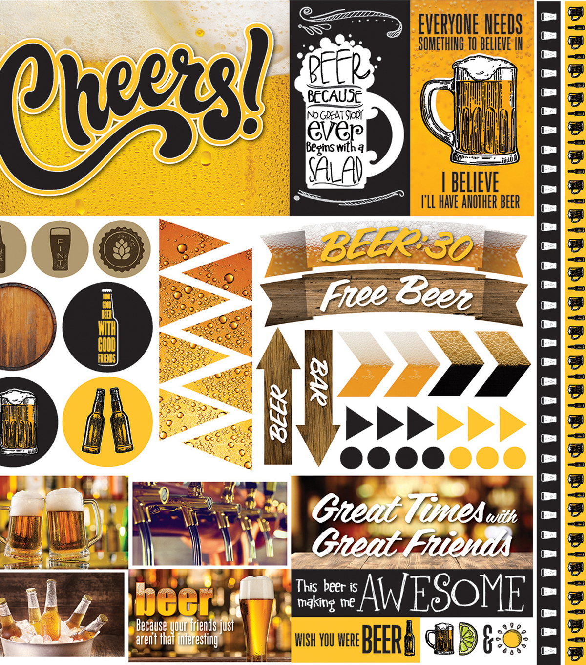 "Craft Beer Elements Stickers 12""X12"""