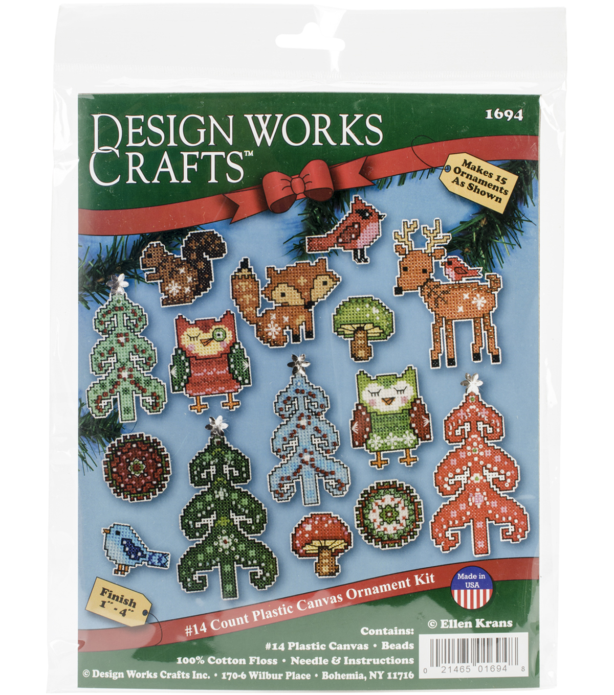 "Woodland Friends Ornaments Plastic Canvas Kit 1"" To 4"" Set Of 15"