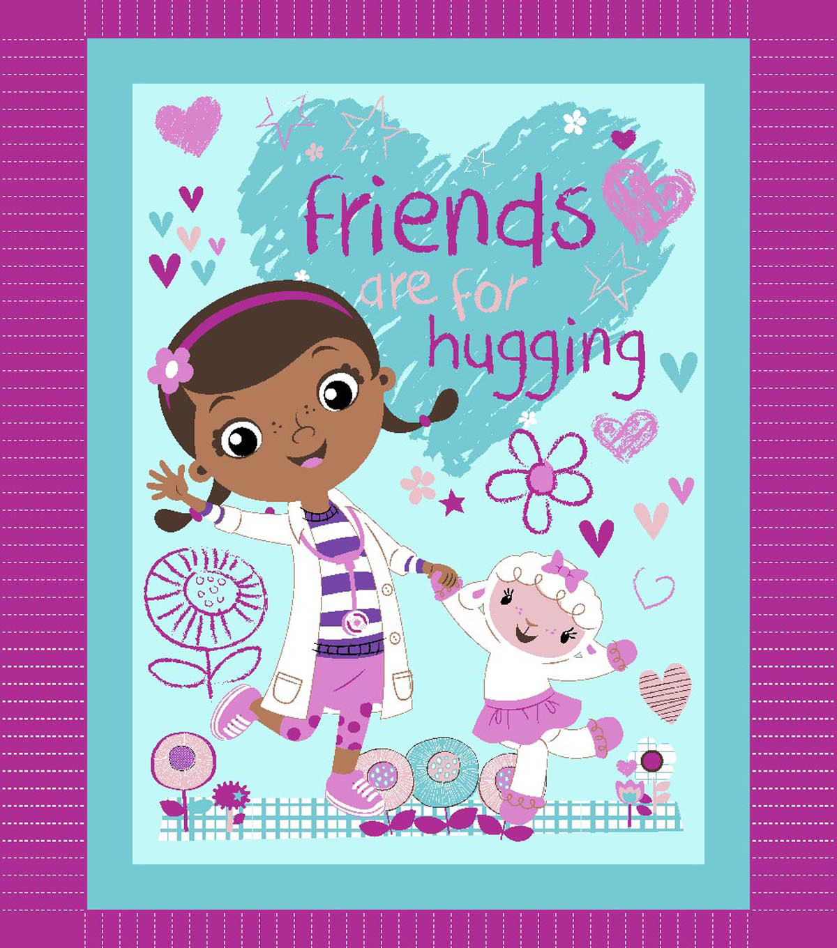 No Sew Fleece Throw 48\u0022-Doc McStuffins Friends are for Hugging
