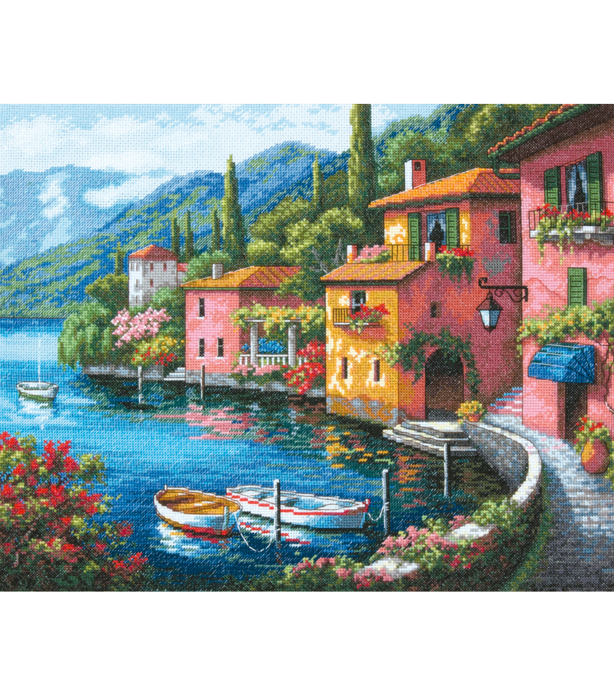 "Gold Collection Lakeside Village Counted Cross Stitch Kit-15""X12"" 16 Count"