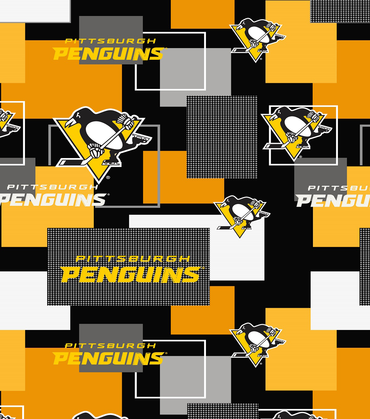 "Pittsburgh Penguins Cotton Fabric 43""-New Block"