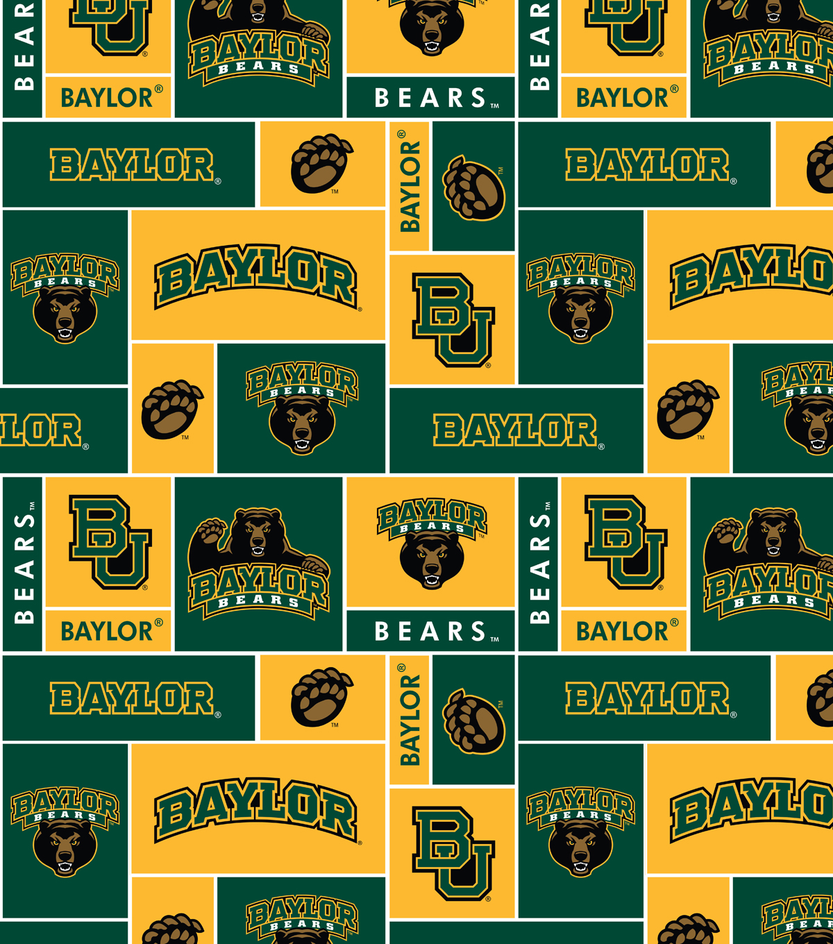 Baylor University Bears Fleece Fabric 58\u0022-Block